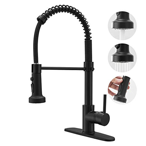 BESy Commercial Kitchen Faucet with Pull Down Sprayer, Solid Brass High-Arc Single Handle Single Lever Spring Rv Kitchen Sink Faucet with Pull Out Sprayer, 3 Function Laundry Faucet, Matte Black