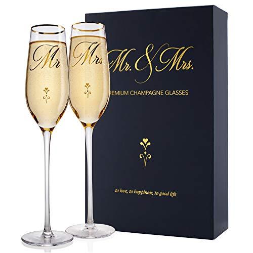 Mr. & Mrs. Wedding Champagne Flutes, Engagement Gift, Gold Print...