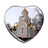 Hqiyaols Souvenir Russia Chiesa ortodossa Orientale Vladivostok Frigo Magnete A Forma di Cuore Cristallo Adesivo per Frigorifero Viaggio Regalo Collezione Souvenir