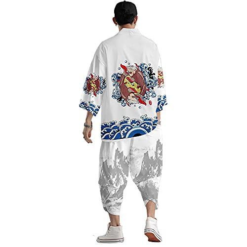 Chaqueta de Punto con Manga 3/4 de Kimono Japonés para Hombre - Chaqueta de Punto con Ondas Koi de Estilo Chino Haori,White-3XL