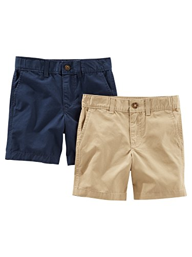 Simple Joys by Carter's Baby Boys' Toddler 2-Pack Flat Front Shorts, Khaki, Navy, 2T