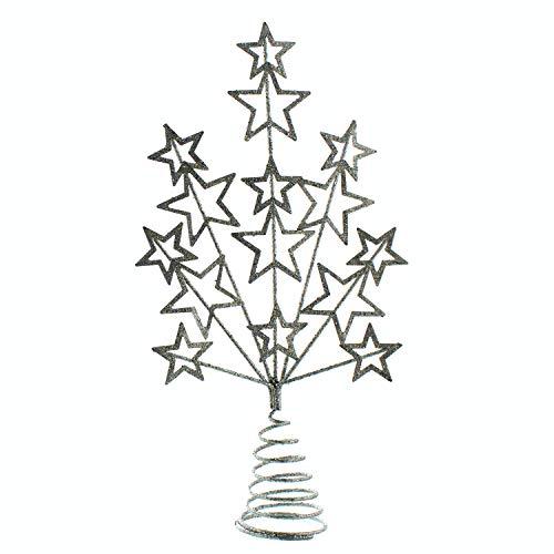 Festive Productions - Puntale per albero a forma di stella con glitter, 16 cm