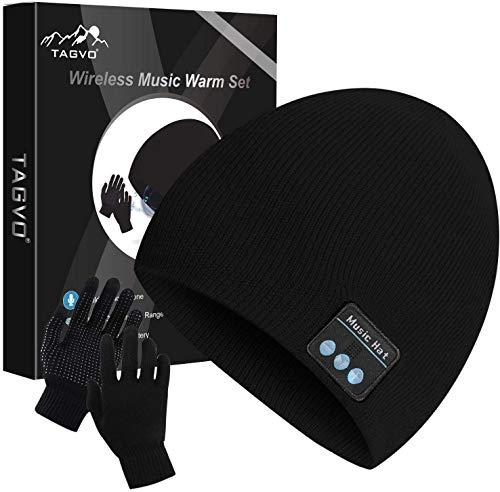 TAGVO Bluetooth V5.0 Beanie con Guanti Touchscreen Set, Inverno Caldo Lavorato a Maglia Senza Fili Bluetooth Cuffia Musica...