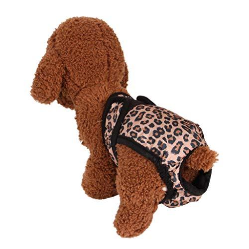 Karinao Haustier Hund Schlüpfer Physiologische sanitäre Hosen Waschbare Hygiene Windel Unterwäsche für Haustier weiblich (XL,Braun)