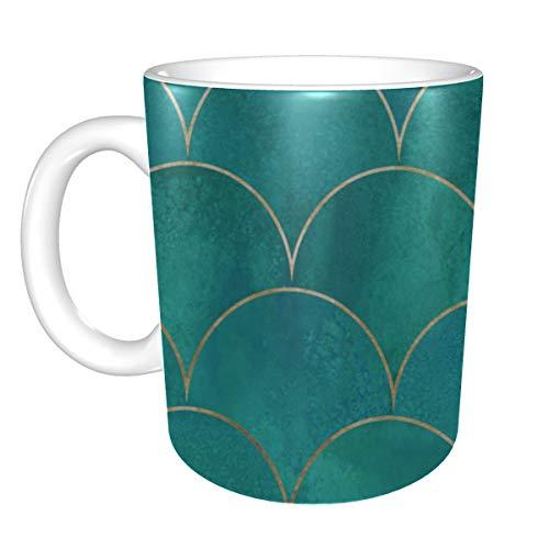 Tasse à café de voyage coloré Art brillant poisson de mer échelle hommes tasses à café grande tasse à café en céramique 11 onces pour hommes femmes cadeaux idéaux pour le petit déjeuner lait