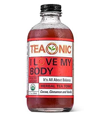 I LOVE MY BODY - Herbal Tea Tonic - Detox Tea - Hibiscus Tea - Cinnamon Tea - Nettle Tea - Holy Basil Tea - Vanilla Tea - Rooibos Tea Organic - Caffeine Free Tea - 8 fl oz. Each - 12 Pack - TEAONIC from Teaonic