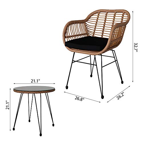Wicker Rattan Garden Chairs Set of 2 and Table Outdoor Handmade Patio Furniture Conversation Chairs Set 2 Armchairs + Tempered Glass Top Table Indoor Outdoor Set uff08Includes 2 cushionsuff09[UK STOCK] Garden Furniture & Accessories Garden & Outdoors
