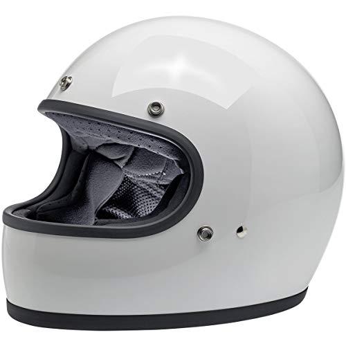 Casco Integrale Biltwell Gringo Bianco Lucido Gloss White OMOLOGATO Doppia OMOLOGAZIONE ECE (Europa) & DOT (America) Helmet Biker Custom Vintage retrò Anno 70 Taglia XL