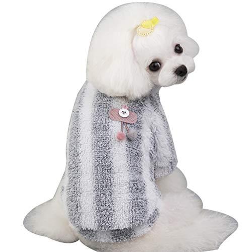 YiiJee Plüsch Hundemantel Herbst und Winter Mantel Winddicht Warme Hundebekleidung Warm Haustierkleidung Hund Kleidung Hundekleidung Hundekostüm für Kleine Mittlere Hunde Grau L