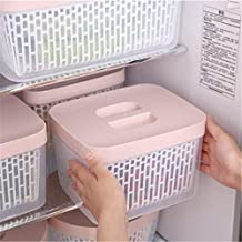 HUICHEN Double Layer Food Container Drain Basket Kitchen Refrigerator Storage Box Multi-Capacity Fruit Vegetables (Color :...