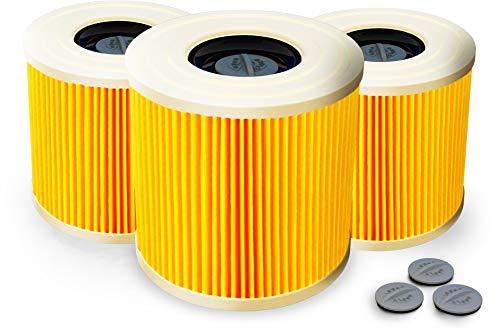 3x Patronenfilter + 3 EXTRA Verschlusschrauben | Patronen Filter Staubsauger für Kärcher WD3 Premium WD2 WD3 WD 3 MV3 WD 3 P Extension KIT ersetzt 6.414-552.0, 6.414-772.0, 6.414-547.0 - waschbar!