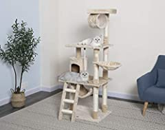 BEAUTIFUL AND DURABLE This Cat Tree is made from highly durable compressed wood, wrapped with high quality Faux Fur finish to keep your cats warmed and cozy. Multiple scratching posts are covered by natural sisal ropes which is perfect for your cats ...