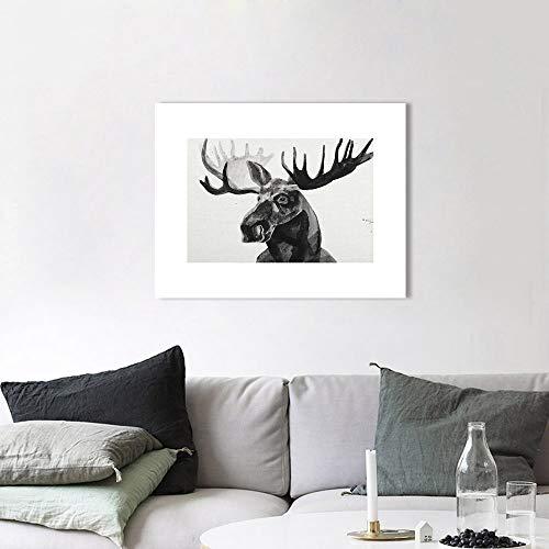 Wall Art foto dier schilderij Canvas Print The Moose zwart wit Home Decor Wall Decor D 60x80cm geen Frame