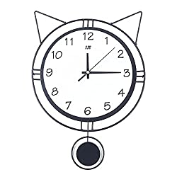Wall Clocks Creative Cartoon Cat Wall Clock with Swing Tail Pendulum for Living Room Bedroom Kitchen Kids Rooms Home Décor
