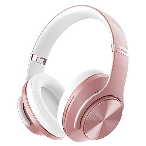 DOQAUS Auriculares Inalámbricos Diadema, [52 Hrs de Reproducción] Hi-Fi Sonido, Cascos Bluetooth con 3 Modos EQ, Micrófono Incorporado y Doble Controlador de 40 mm, para Móviles/Xiaomi/TV (Oro Rosa)