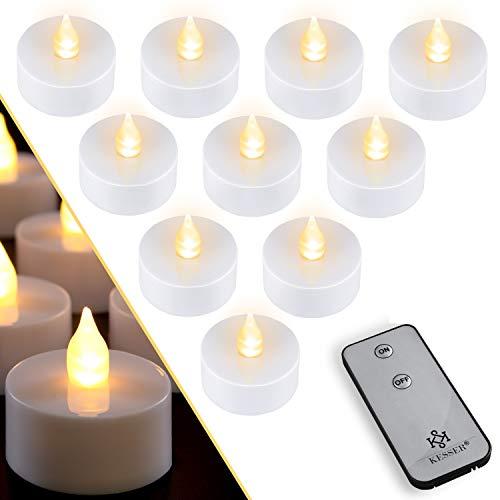 KESSER® 10 LED Teelichter Mit Fernbedienung & Batterie Flackernd Flammenlos Warmweiss Elektrische Kerzen mit Flackerndem Licht, Flackernde Flamme Batteriebetrieben, als Stimmungslicht
