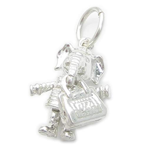 Elefant mit Handtasche Sterlingsilber Charm .925 x 1 Elefanten Anhänger ec1653