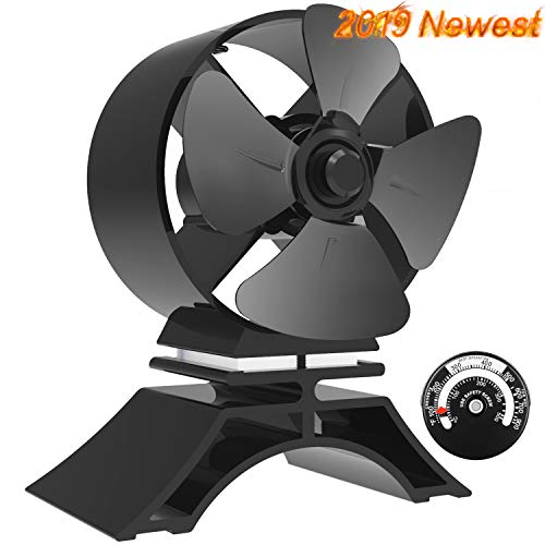 X-cosrack Heat Powered Stove Fan 4 Blade for Wood Log Burner Fireplace Slient Eco-Frienly Fan with Magnetic Thermometer Aluminium Black Small