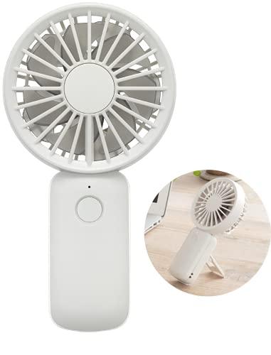 リズム(RHYTHM) 携帯扇風機 【2021モデル】 弱でも涼しい 静音 DCモーター 2重反転ファン USB 充電式 小型 強力 ホワイト 16.2x8.5x3.9cm 9ZF031RH04
