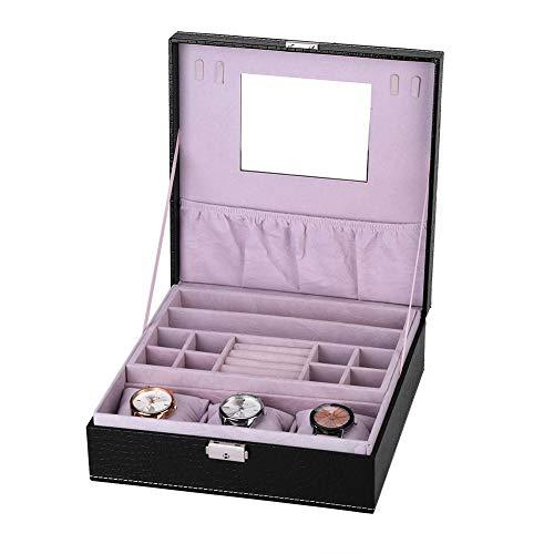 Brrnoo Aufbewahrungsbox für Schmuck, multifunktional, Aufbewahrungsbox für Uhren aus PU für Sammlung und Aufbewahrung