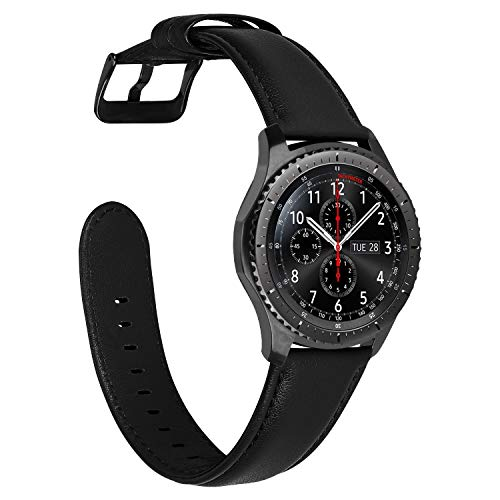 MroTech Armband Kompatibel mit Samsung Galaxy Watch3 45mm/Galaxy Watch 46mm/Gear S3 Frontier Lederarmband 22mm Ersatz für GTR 47mm/Huawei GT/GT2 Pro/GT2e/GT 2 46mm Uhrenarmband Band-Nappaleder Schwarz