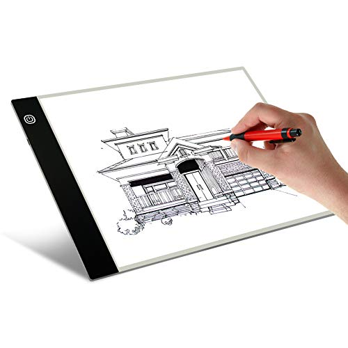 A4 LED Artists Light Box for Drawing Thin Portable Light Box Tracer Pad 4mm USB Power, 3 Level Brightness Pad LED Light