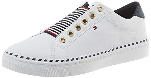 Tommy Hilfiger Tommy Elastic City Sneaker, Zapatillas para Mujer, Blanco (White Ybs), 37 EU