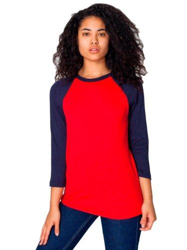 T-shirt Raglan Manches 3/4 en Poly-Coton - Red / Navy / S