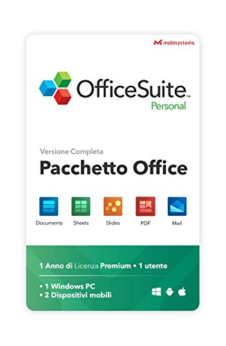 OfficeSuite Personal Compatibile con Microsoft® Office Word Excel & PowerPoint® e Adobe PDF per PC Windows 10, 8.1, 8, 7 - 1 anno di licenza, 1 utente