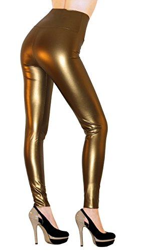 Sodacoda® Atractivo de Las señoras de la Alta Cintura del Estiramiento de Piel sintética - - Polainas apretadas Aspecto Mojado Incl. Metálica