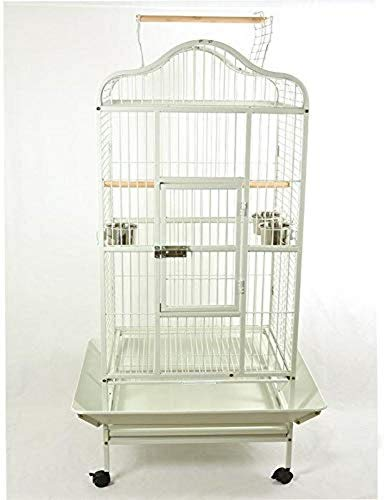 Pet's Solution Gabbia voliera per pappagalli Grandi Uccelli cenerino Amazone 100x78x178h cm Nera Bianca (Bianco)
