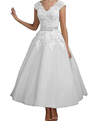 Cloverbridal dames vintage korte thee lengte kant bruidsjurken voor de bruid 2018