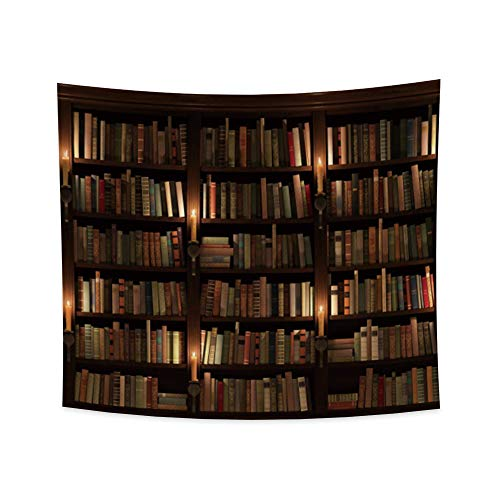 Haoyiyi 70.9x63 Inches Bookshelf Tapestry Bookcase Vintage Books Wall Hanging School Library Students Study Wall Paper Wooden Photography Wall Art Wall Tapestry for Bedroom Office Dorm Decor