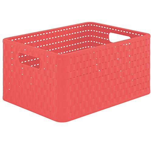 Rotho 1115302073 Country Aufbewahrungbox in Rattan-Optik 18 l Kunststoff