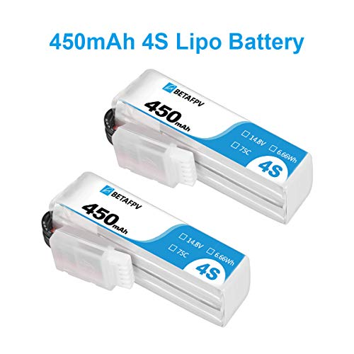 BETAFPV 2pcs 450mah 4S Lipo Battery 75C/150C 14.8V with XT30 16AWG Silicone Wire for 4S Micro Mini FPV Drone