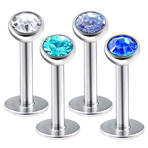 bodyjewelrytrend 4 Stück labret Piercing Ring 1,2mm 6mm Conch Triple Medusa Ohr Cartilage Edelstahl Helix Tragus lippenpiercing Forward Anti Kristall-Halbkugel - E5WCW