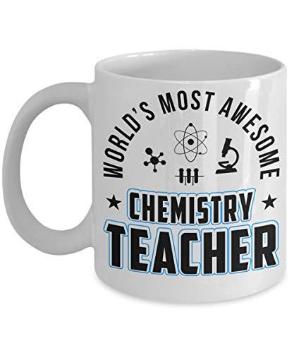 Best Chemistry Teacher Taza de café de cerámica - El profesor de química más impresionante del mundo | Mejor regalo de Navidad, cumpleaños para profesores de química, papá, mamá, hombres - Blanco 11oz