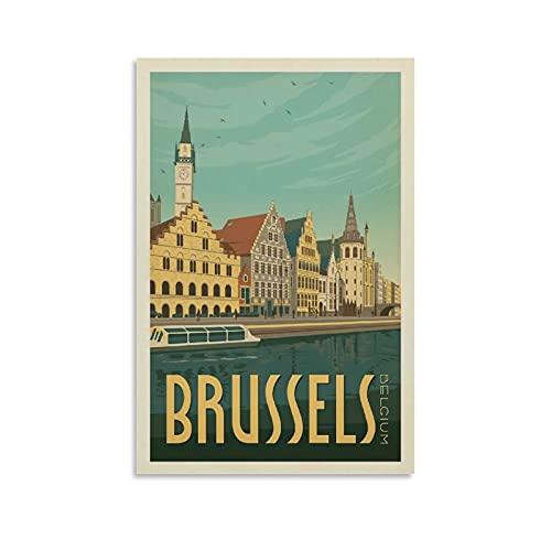 QTYB Póster vintage de Bélgica en el puerto de Bruselas, póster decorativo en lienzo para pared,...