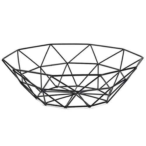 TIMESETL Cesta de Frutas Decorativa de Metal, Cesta de Frutas de Alambre de Hierro Vintage, Cesta de Frutas Decorativa Moderna 26 x 8 cm - Negro