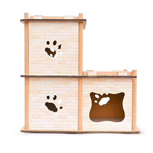 HMDJW Kratzbäume Türme Wellpappe Katze Schleift Das Haus Wellpappe Papier Stereo Cat House Claws Dach Scratch Board Multi Verformung Klettergerüst
