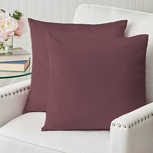 The Connecticut Home Company Velvet Throw Pillow Covers, 18x18 Set of 2, Soft Decorative Square Pillowcases, Luxury Home Décor Accent Cushion Cases for Livingroom Couch, Bedroom, Sofa Bed, Mauve