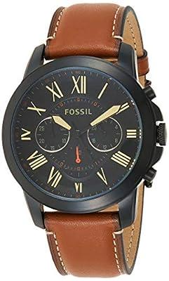 Fossil Men's Grant Quartz Leather Chronograph Watch, Color: Black, Brown (Model: FS5241)