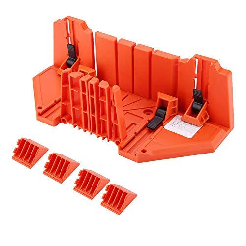 AYNEFY Gehrungsbox,Schneidlade Gehrungslade Kunststoff-Gehrungskasten-Beschneidungssäge Holzschneiden Handsäge-Hardware-Werkzeug 14 Zoll mit Klemme