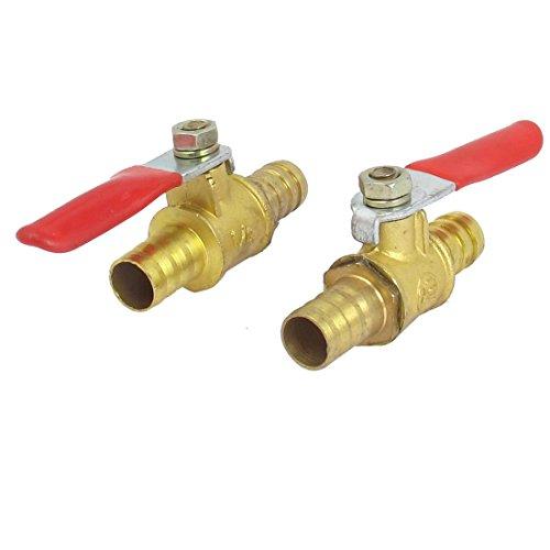 DealMux Válvula de cierre de válvula de bola, espiga de manguera de 10 mm a espiga de manguera de 10 mm, accesorios de tubo de manguera, manija de operación de 180 grados, válvula de latón, longitud