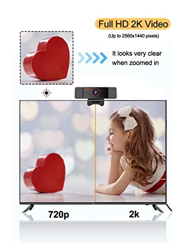 Karinear Webcam con Micrófono, Cámara Web de Full HD 2K 1440P, USB 2.0 Plug y Play, Webcam para PC, Portátil, Escritorio, para Conferencias, Videollamadas miniatura