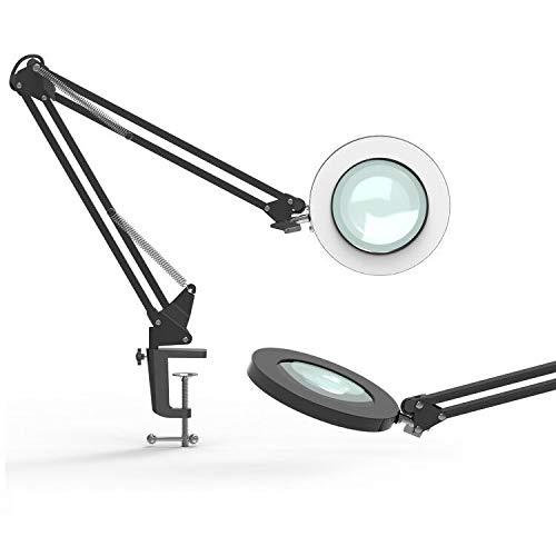 YOUKOYI Lámpara LED de Aumento de 5X Lámpara de Escritorio de Metal con Brazo Oscilante Regulación Escalonada de 3 Modos de Color Negro