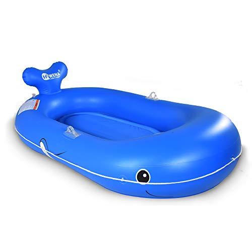 HIWENA Whale Inflatable Boat, 73 inches Whale Pool Float for Kids and Adults, Swimming Pool and Lake Boat Float