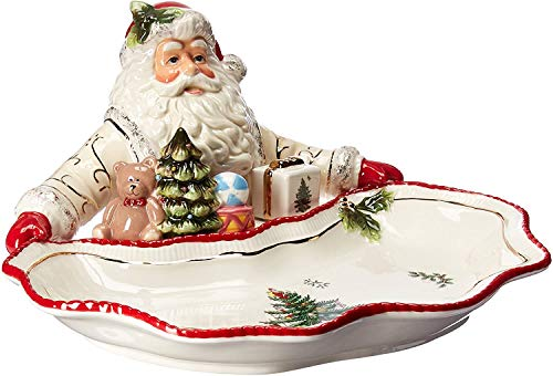 Spode Christmas Tree Santa Dish- 22 karat gold