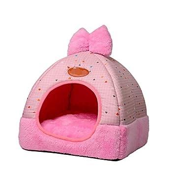 TianBin Fermé Pliable Nid d'animal Automne et Hiver Chaud Chat Maison La Mode Lit de Chien (Rose#2, M)