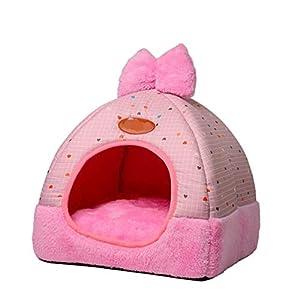 TianBin Moda Plegable Nido de Mascotas Otoño e Invierno Cerrado Perrera Hay un Arco en Top (Rosa#2, M)